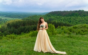 Picture forest, girl, nature, pose, hair, dress, Valentine Shepitko
