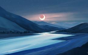 Picture moon, river, sky, trees, landscape, nature, eclipse, night, art, mountains, stars, artist, digital art, artwork, …