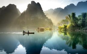 Picture rays, light, mountains, fog, lake, reflection, rocks, hills, shore, vegetation, boat, tops, morning, Asia, haze, …