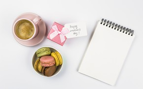 Picture gift, cookies, macaron, coffe, Notepad