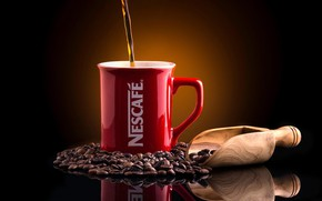 Picture reflection, background, coffee, mug, coffee beans, scoop, Nescafé