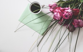 Picture roses, bouquet, Coffee, Table, Letter