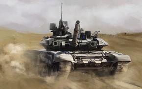Wallpaper Painting, T-90, Main Battle Tank