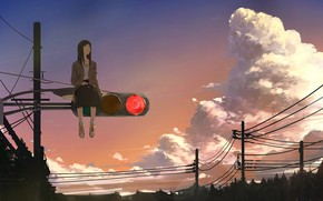 Picture girl, the evening, traffic light