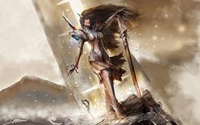 Picture girl, sword, fantasy, armor, weapon, Warrior, blue eyes, brunette, elf, digital art, artwork, fantasy art, …