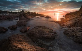 Picture sea, the sun, clouds, light, sunset, stones, rocks, shore, coast, France, surf, Bay, house, rocky …