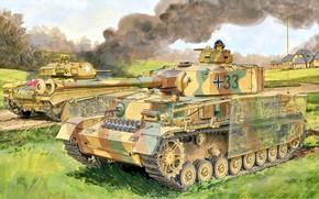 Picture Smoke, tanker, US Army, The second World war, Tank weapon, Chaffee, Pz.Kpfw IV Ausf J, …