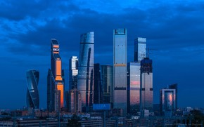 Picture the sky, blue, building, home, the evening, Moscow, Russia, Russia, skyscrapers, Moscow, Skyscrapers Big City