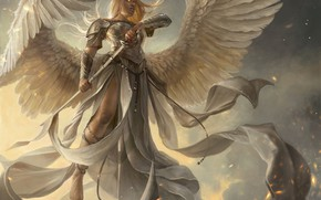 Picture girl, sword, fantasy, armor, wings, Angel, blonde, artwork, warrior, fantasy art, fantasy girl