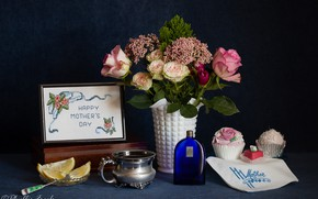 Picture flowers, style, roses, bottle, still life, embroidery, cupcake, Mother's day