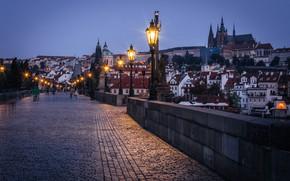 Picture bridge, building, home, the evening, Prague, Czech Republic, lights, Prague, Czech Republic, Charles Bridge, Charles …