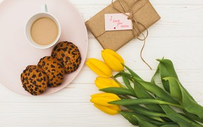 Picture coffee, bouquet, spring, tulips, The celebration, Mother's day