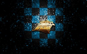 Picture wallpaper, sport, logo, NFL, glitter, checkered, Carolina Panthers