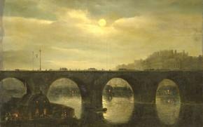 Picture oil, picture, 1835, Anthonie Waldorp, Энтони Вальдорп, Вид моста через Сену в Париже в лунном …
