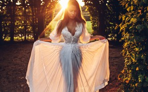 Picture girl, pose, white dress, sunlight, Rome Rome