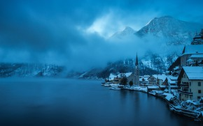 Picture winter, forest, the sky, clouds, snow, trees, mountains, blue, the city, fog, lake, blue, blue, …