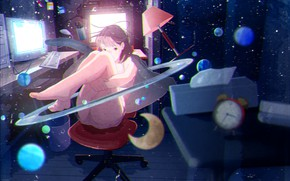 Picture girl, room, the universe