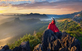 Picture girl, mountains, nature, fog, rocks, dawn, hat, morning, sitting, red dress