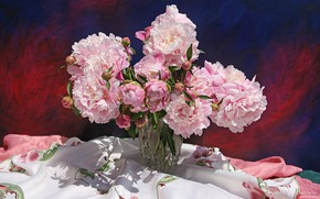 Picture light, table, bouquet, vase, pink, still life, buds, tablecloth, peonies
