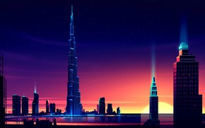 Picture Sunset, The sun, Vector, The city, Style, Skyscrapers, Building, The building, Dubai, Landscape, Architecture, Dubai …