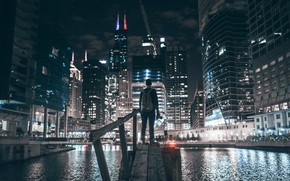 Picture night, the city, people, Chicago, photographer, USA, bokeh