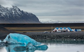 Picture mountains, house, ice, Iceland