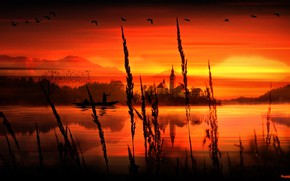Picture Birds, Render, Water, Sunset, River, Lake, Boat, PHASES ARTS
