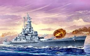 Picture battleship, US NAVY, Naval forces of the United States, battleship USA, USS Massachusetts, BB-59, Michael …