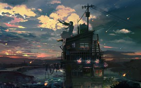 Picture river, wire, antenna, the evening, vocaloid, Hatsune Miku, Vocaloid, Bank, on the roof, Starfall, Hatsune …