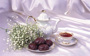 Picture tea, kettle, Cup, still life, marshmallows