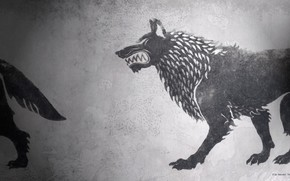 Picture game of thrones, a song of ice and fire, fan art, House Stark, HBO, darewolf