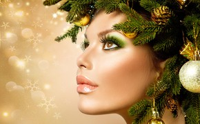 Picture girl, face, style, background, model, makeup, New year, profile, bumps, Christmas decorations, spruce branches, Anna …