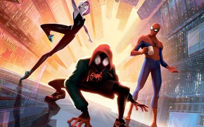 Picture fiction, cartoon, art, comic, Spider-man: universes, Spider-Man: Into the Spider-Verse