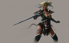 Picture background, Girl, sword, warrior