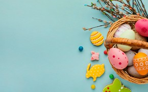 Picture branches, background, eggs, cookies, Easter, basket, eggs