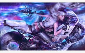 Picture girl, fiction, sword, motorcycle, bike, art, cyberpunk, shadowrun