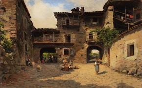 Picture Italian painter, Italian painter, Silvio Poma, oil on tablet, Silvio Poma, Rural life scene, Scene …