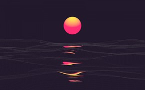 Picture sea, the sun, sunset, abstraction