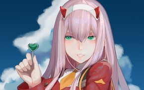 Picture girl, tie, Lollipop, Chupa Chups, 002, Darling In The Frankxx, Cute in France, Zero Two