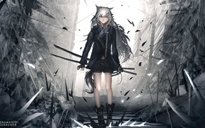 Picture scar, killer, katana, shards of glass, sharp, hell of a grin, black clothes, dark place, …