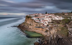 Picture the ocean, rocks, coast, home, Portugal, Portugal, The Atlantic ocean, Atlantic Ocean, Azenhas do Mar, ...