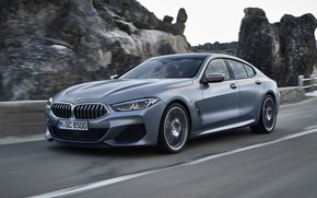 Picture movement, rocks, coupe, BMW, Gran Coupe, 8-Series, 2019, the four-door coupe, Eight, G16, steel gray