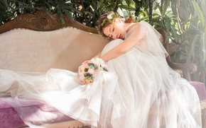 Picture girl, flowers, pose, sofa, white, bouquet, dress, Asian, sitting, the bride, wedding, closed eyes