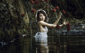 Picture girl, river, roses