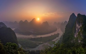 Picture the sun, sunset, river, China, haze, Guilin