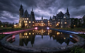 Picture water, night, clouds, reflection, pool, lighting, Poland, tower, architecture, Posnanski castle, Moszna Castle, Purse