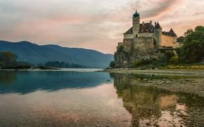 Picture landscape, mountains, nature, river, castle, morning, Austria, The Danube, Shebuel