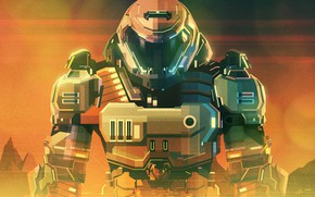 Picture Style, Soldiers, Fighter, Art, Art, Style, Fiction, Digital, Illustration, Minimalism, Character, Soldier, Doom, Sci-Fi, Fighter, …