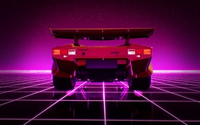 Picture Graphics, New Retro Wave, Transport & Vehicles, Countach, 80s, Lamborghini Countach UE4 Synthwave Environment, Kaur …