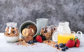 Picture berries, Breakfast, cookies, juice, yogurt, granola